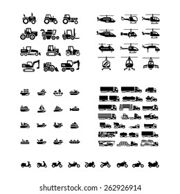 Set icons of transport. Tractors, helicopters, water transport, trucks and motorcycles isolated on white. Vector illustration