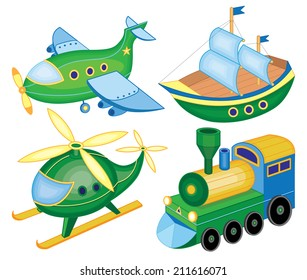 set icons of transport (vector illustration)