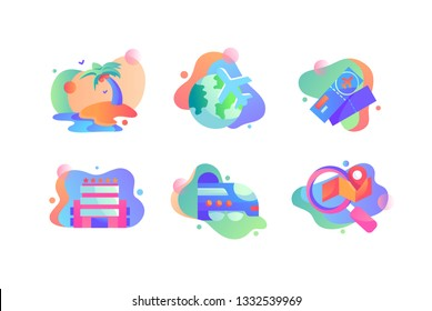 Set icons with travel, airplane, island, trane, earth, ticket, premium hotel. Concept collection modern symbols for journey, internet, ad web Pixel perfect Vector illustration