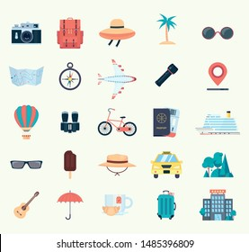 Set of icons for travel. Flat vector illustration isolated on white background.