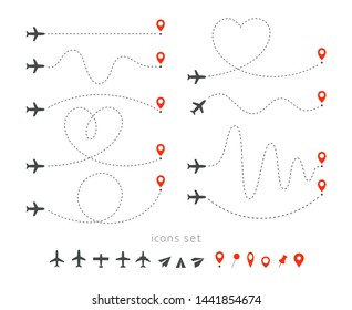 Set icons of travel way by plane. Takeoff and landing of a passenger plane. Flight route infographic elements. Flight by airplane, aviation tourism vector isolated illustrations collection.