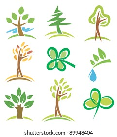 Set of icons  trees and plant. Vector illustration.