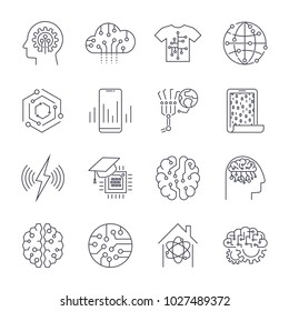 Set of icons in trendy linear style innovation and new technologies artificial. AI, IoT. Editable Stroke.