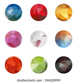 Set icons from triangle colored abstract in a circle frame