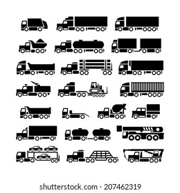 Set icons of trucks, trailers and vehicles isolated on white. Vector illustration
