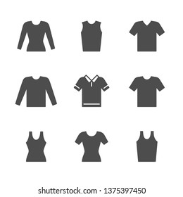 Set icons of t-shirt, singlet, long sleeve