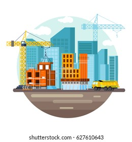 Set of icons of unfinished houses, skyscrapers. City with streets. Construction of buildings from glass and concrete. In a modern orthogonal style. Vector illustration.