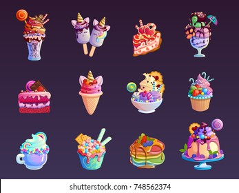 Set of icons unicorn food. Vector illustration.