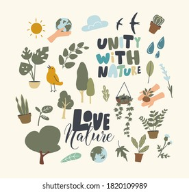 Set of Icons Unity with Nature Theme. Green Plants, Potted and Wild Flowers, Cactus in Pot, Earth Globe, Water Drop, Sprout in Human Hands, Birds Flying and Sun Shining. Linear Vector Illustration