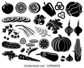 Set of  icons of vegetables. vector