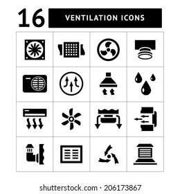 Set icons of ventilation and conditioning isolated on white. Vector illustration