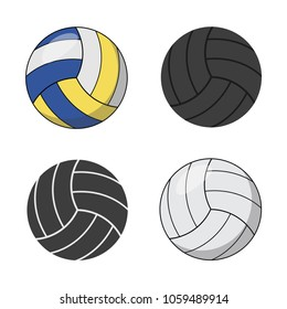 Set of icons of volleyballs balls. Sport concept, volleyball. Vector illustration.