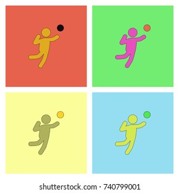 set Icons of Vollyball on Color Background. Eps-10.