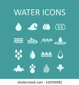 Set of icons of water for design. A vector illustration