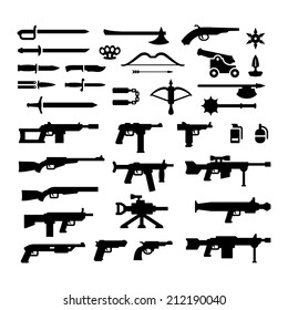 Set icons of weapons isolated on white. Vector illustration