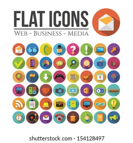 Set of icons for web, business or media. Flat Design.