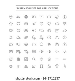 Set of icons for web services and applications.