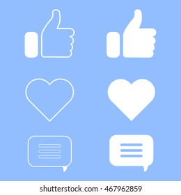 Set of icons for website or application. Modern flat style icons. Social network web icons.