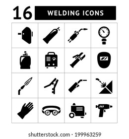 Set icons of welding isolated on white. Vector illustration