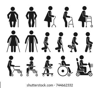 Set of icons which represent people using various orthopedic equipment. Pictograms that represent handicapped, elderly and injured people who use orthopedic accessories and wheel chair.