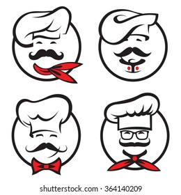 set of icons with whiskered chefs