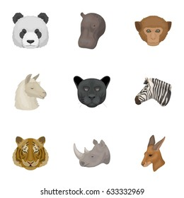A set of icons of wild animals. Predatory and peaceful wild animals.Realistic animal icon in set collection on cartoon style vector symbol stock illustration.