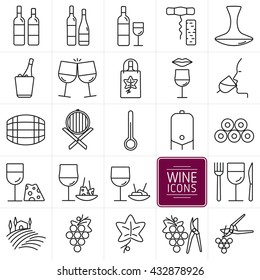Set of icons of wine. Icons bottles and wine glasses, wine shop, tasting, food, cellar and vineyards. vector illustration.