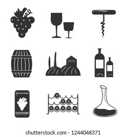 Set icons of wine with grapes, glass, bottle , corkscrew..