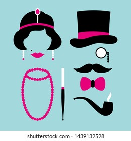 Set Icons Woman And Man Twenties Pink And Turquoise