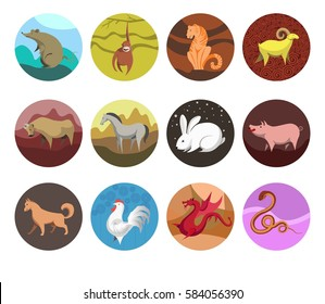 Set icons of zodiac animals for horoscope design. Chinese horoscope Rat, Ox, Tiger, Rabbit, Dragon, Snake, Horse, Goat, Monkey, Rooster, Dog, Pig. Flat style. Vector illustration isolated