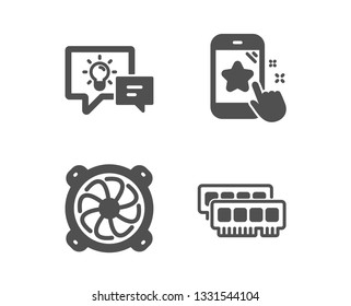 Set of Idea lamp, Star rating and Computer fan icons. Ram sign. Business energy, Phone feedback, Pc ventilator. Random-access memory.  Classic design idea lamp icon. Flat design. Vector