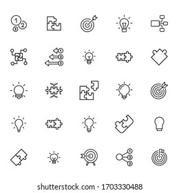 Set of idea related vector line icons. Premium linear symbols pack. Vector illustration isolated on a white background. Web symbols for web sites and mobile app. Trendy design.