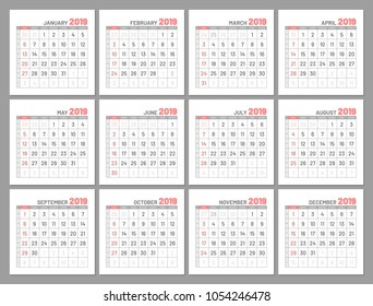 Set identical light mini calendars, 2019, months, flat. Diary for notes, scheduling, marks of important dates and events in red color. Vector illustration of menologies collection