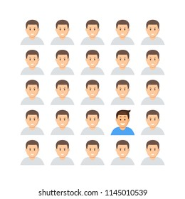 Set of identical men faces except one vector illustration. Different face. Graphic of boy represents the concept of individuality confidence uniqueness innovation creativity