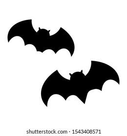 Set ikon kelelawar hitam Halloween. Siluet Kelelawar. Simbol Halloween.