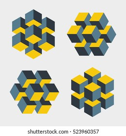 Set of illusive cubes constructed of blocks. Isometric cubes turned in different angle. Mathematical object with mental trick. Optical illusion of brain. Symbol with three-dimensional effect. Imp art