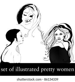 set of illustrated beautiful women isolated on white background