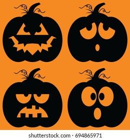 Set of illustrated cartoon jack-o-lantern silhouettes.