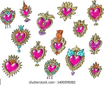 Set illustration with antique vintage boho bohemian hearts