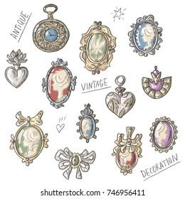 Set illustration with antique vintage decoration brooch