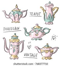 Set illustration with antique vintage porcelain teapot