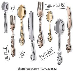 Set illustration with antique vintage tableware