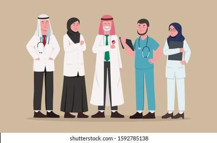 Set Illustration Arabian Medical Team, Doctor and Nurse Chacter Design Cartoon