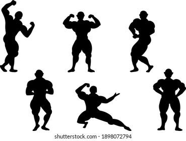 set illustration of body builder  muscle men