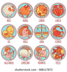 Set illustration with cartoon zodiac signs. Freehand drawing