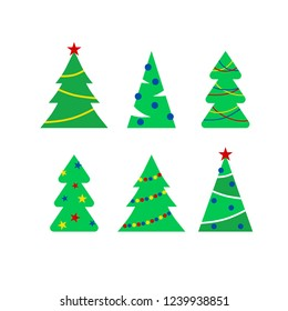 Set of illustration of Christmas and New Year  trees. Isolated flat cartoon style vector illustration on white background. Cute element for winter design of banner, cards, flyer, icon.
