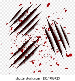 Set illustration of Claws scratches with red blood on isolated background. Creative paper craft,cut style.Scary laceration danger paper surface Claws scratching animal cat, tiger, lion, bear vector