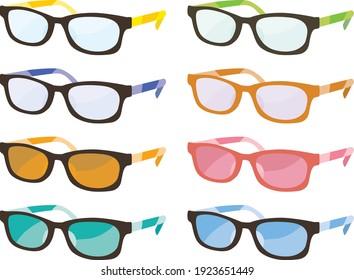 Set illustration of colorful eyeglasses