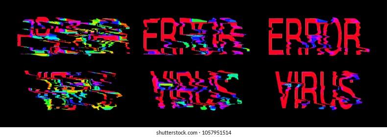 Set of illustration of computer glitch. Inscription error, virus. EPS10