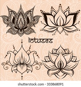 Set of illustration decorative lotuses